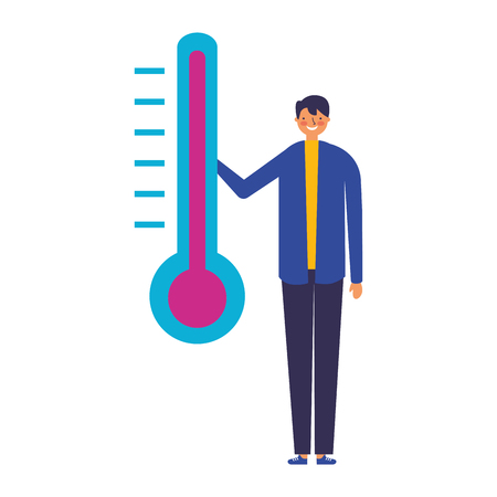 man character with temperature thermometer 版權商用圖片 - 127315822