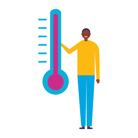man character with temperature thermometer