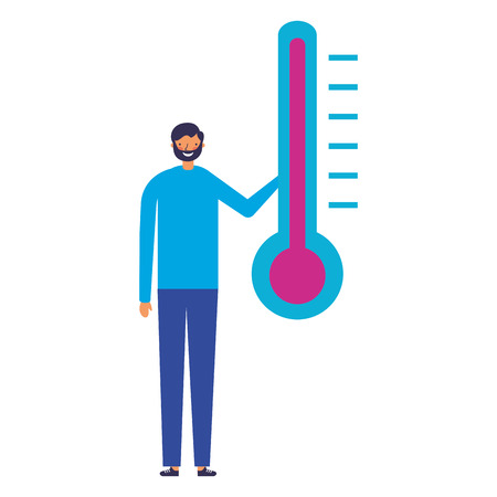 man character with temperature thermometer 版權商用圖片 - 112722208