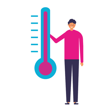 man character with temperature thermometer Stock fotó - 127315824