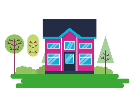 house home exterior trees garden vector illustration Stock Illustratie
