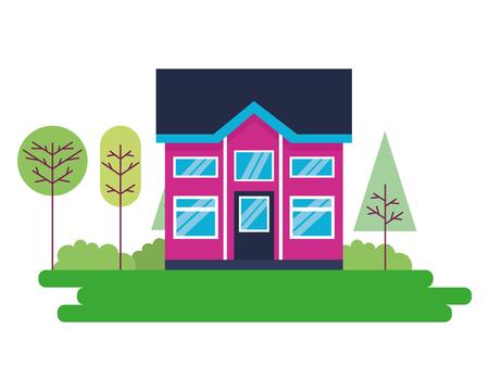 house home exterior trees garden vector illustration Illustration