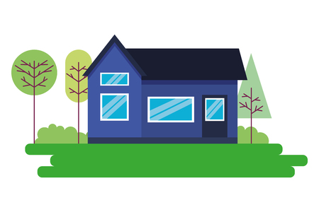 house home exterior trees garden vector illustration Çizim