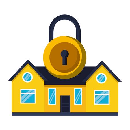 smart home security padlock white background vector illustration Stock Illustratie