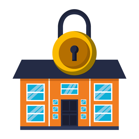 smart home security padlock white background vector illustration 矢量图像