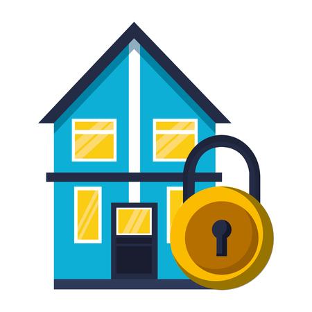 smart home security padlock white background vector illustration Foto de archivo - 112722213