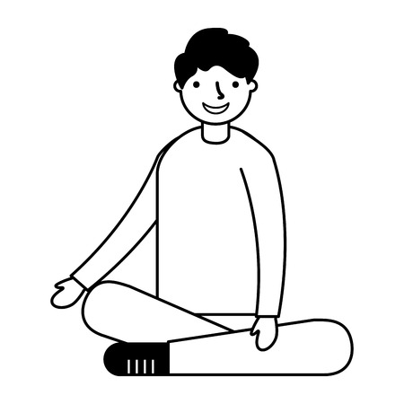 smiling boy sitting crossed legs vector illustration Illustration