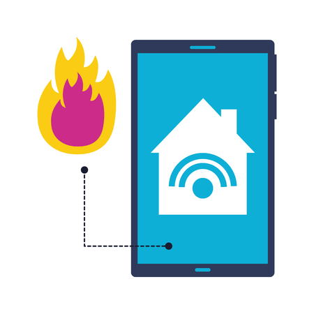 cellphone control fire and smoke smart home vector illustration