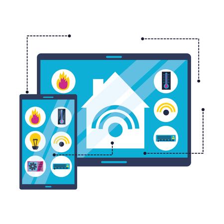 smart home devices technology digital vector illustration Illustration