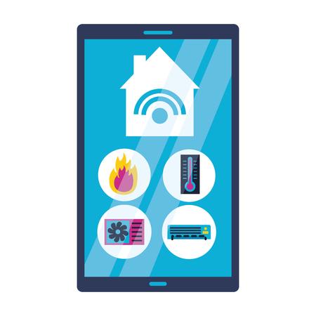 smart home smartphone application remote vector illustration  イラスト・ベクター素材