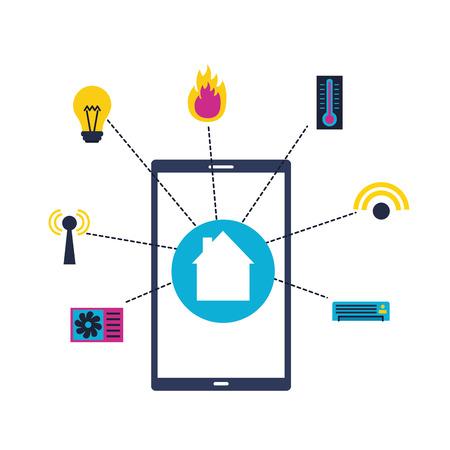 smart home smartphone application remote vector illustration Иллюстрация