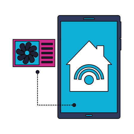 cellphone control air conditioner smart home vector illustration