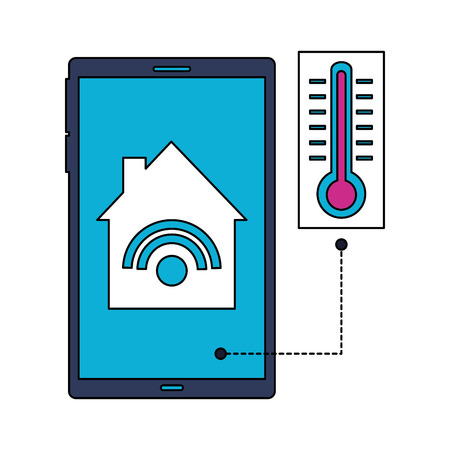 cellphone control thermometer smart home vector illustration Banque d'images - 112722391