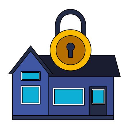smart home security padlock white background vector illustration Foto de archivo - 127315858