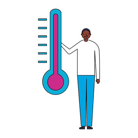 man character with temperature thermometer vector illustration Stockfoto - 127315862