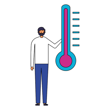 man character with temperature thermometer vector illustration Ilustração