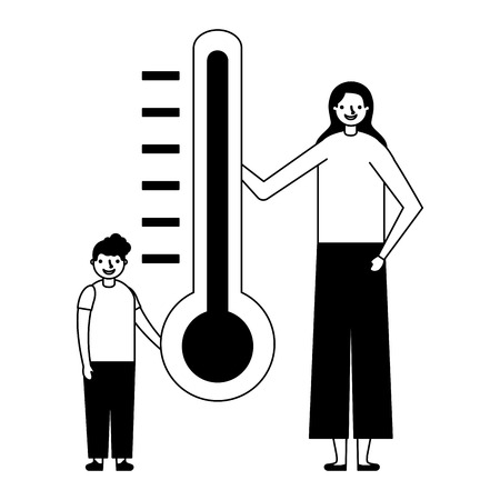 woman with son and thermometer vector illustration
