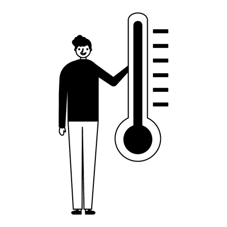 man character with temperature thermometer vector illustration Çizim