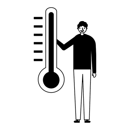 man character with temperature thermometer vector illustration Illusztráció