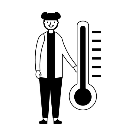 woman character with temperature thermometer vector illustration