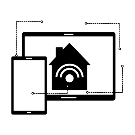 smart home devices technology digital vector illustration  イラスト・ベクター素材