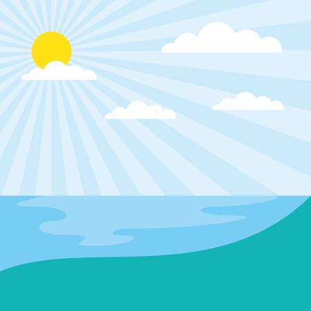 sunny day natural lake landscape  vector illustration