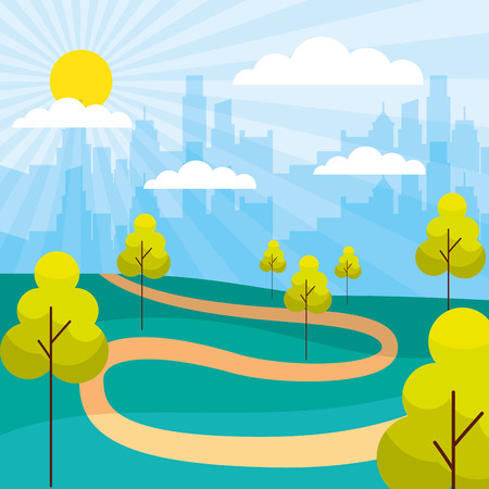 cityscape buildings park trees path vector illustration