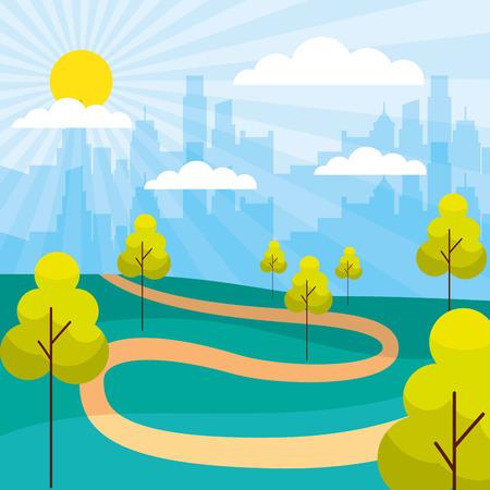 cityscape buildings park trees path vector illustration