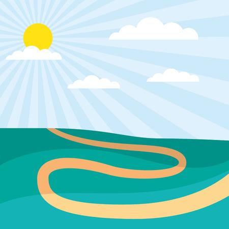 sunny day path rural scenery vector illustration Illustration
