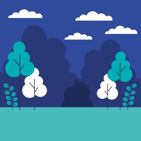 landscape trees plants sky scene vector illustration