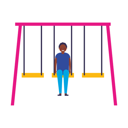 happy teenager boy on a swing vector illustration