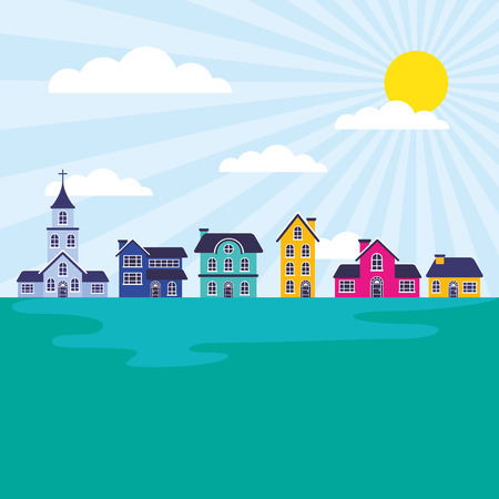 landscape houses church suburban sunny day vector illustration Иллюстрация
