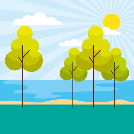 ocean shore trees sunny day scenery vector illustration Stockfoto - 127317410