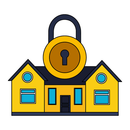 smart home security padlock white background vector illustration Foto de archivo - 127317412