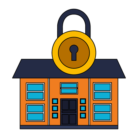 smart home security padlock white background vector illustration Foto de archivo - 127317413