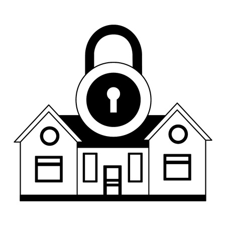 smart home security padlock white background vector illustration Foto de archivo - 127317417
