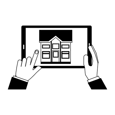 hand with mobile controller smart home vector illustration
