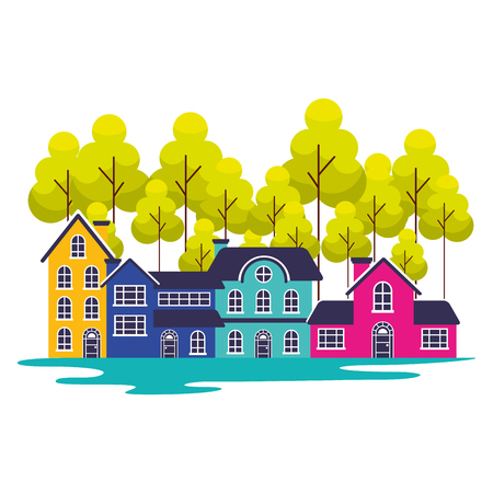 suburban neighborhood trees landscape outdoors vector illustration Иллюстрация
