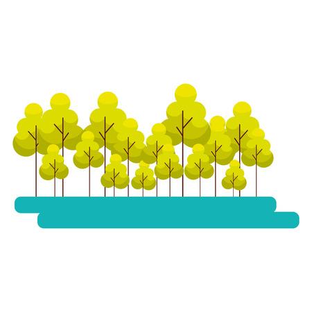 forest trees nature plants landscape vector illustration  イラスト・ベクター素材