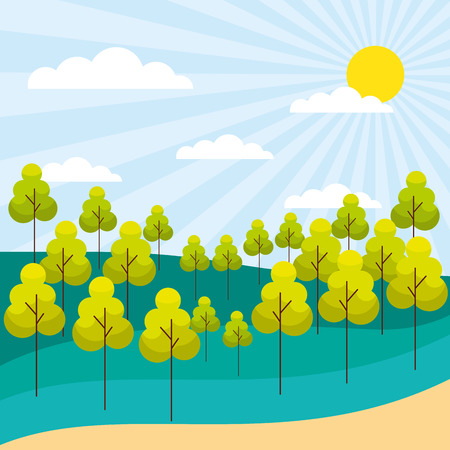 forest trees nature plants sunny landscape vector illustration