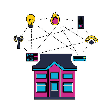 smart home smartphone monitoring control app vector illustration