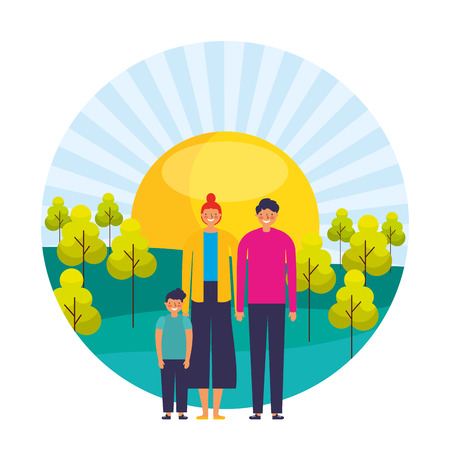 parents and son sunny day trees landscape vector illustration