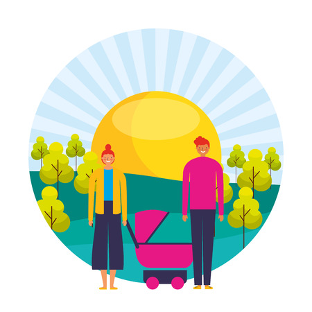 couple and baby pram sunny day trees landscape vector illustration