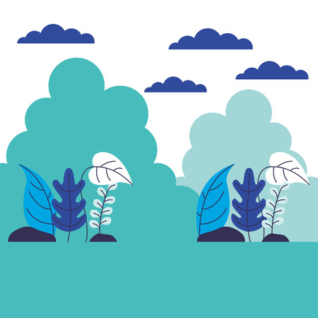 landscape nature plants on white background vector illustration