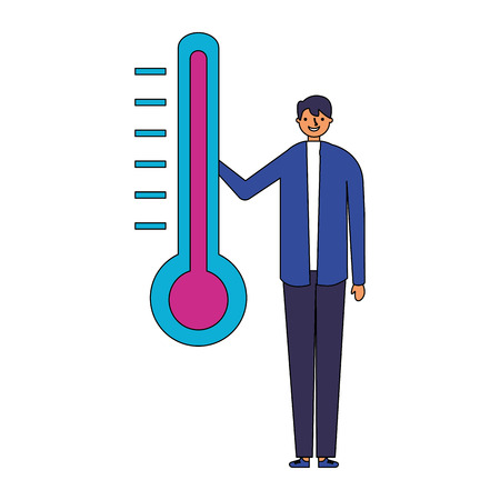man character with temperature thermometer vector illustration Ilustracja