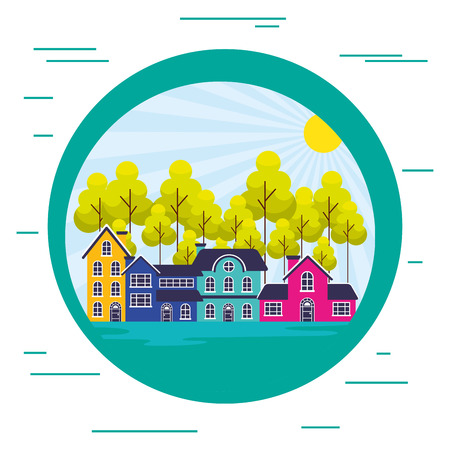 suburban neighborhood landscape sticker vector illustration Иллюстрация