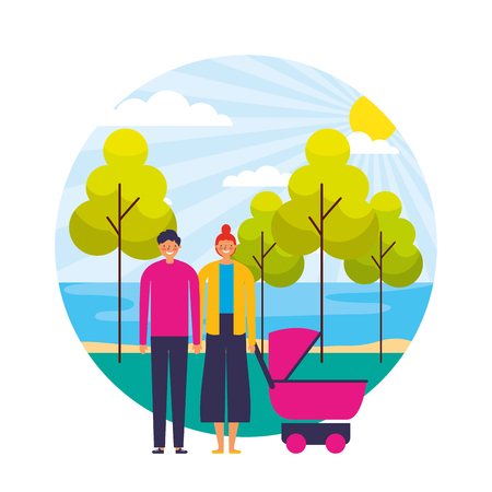 couple with baby pram in the landscape vector illustration