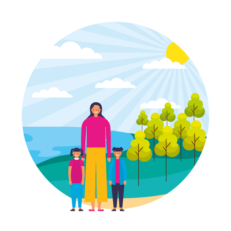 woman and girls in the nature landscape vector illustration