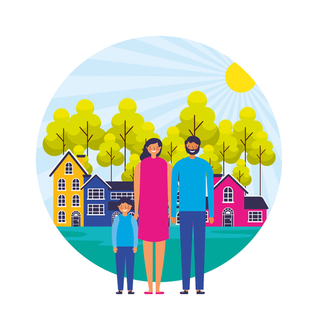 parents and son suburban neighborhood landscape vector illustration