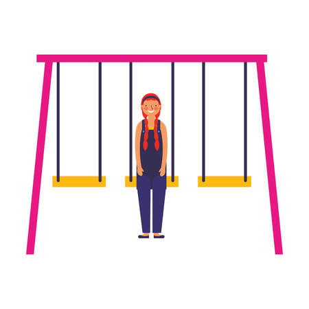 happy teenager on a swing vector illustration
